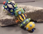 Handmade Lampwork Beads by Monaslampwork - Multi Colored Dots and Stripes - Lampwork Glass Beads by Mona Boho Organic Colorful Gypsy