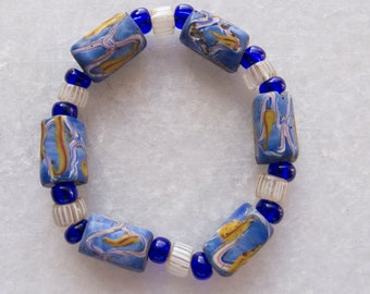Antique Venetian Late 1800s - Early 1900s Rare Blue Fancy Handmade Glass Trade Beads and Antique Gooseberries