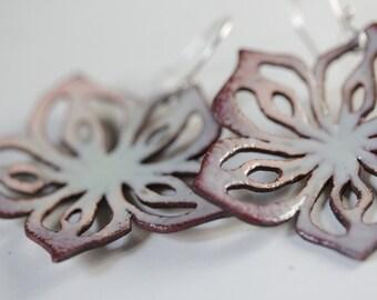 Pierced Spring Flower Earrings - Torch fired Enamel