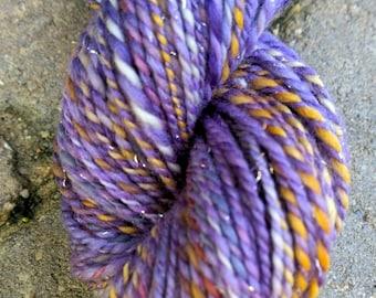 Clematis, handspun wool, silk, nylon glitter yarn, 114 g/268 yds