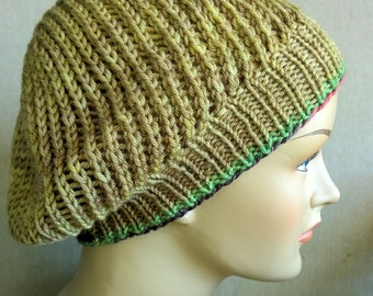 Tam or slouch hat, handknit with machine washable yarn