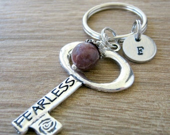 Personalized Fearless Keychain, initial disc option, big key charm, Strength on back, Stay Strong, Motivational gift, stocking stuffers