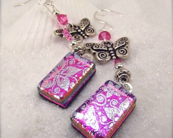 Butterfly earrings, Pink dichroic earrings, fused dichroic glass jewelry, handmade jewelry, sterling silver charms,glass fusion, hana sakura