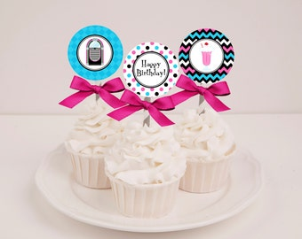 Printable 50s Sock Hop Birthday Cupcake Toppers - Instant Download