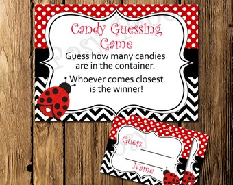 Printable Ladybug Baby Girl Shower Candy Guessing Game - Instant Download