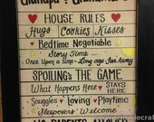 Grandparents house rules PERSONALIZED hugs cookies kisses spoiling sleepovers No Parents allowed sign grandpa grandma gift Aunt Uncles etc