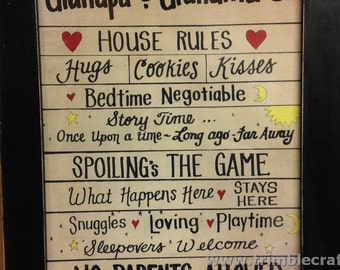 Grandparents house rules sign Hugs bedtime spoiling sleepovers framed PERSONALIZED