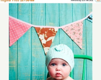 STOREWIDE SALE Bunting Flags, Pink and Brown Photography Prop,  Designer's Choice Fabric Fabric Banner.  Also For Weddings and Parties.