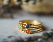 Dawn and Dusk Ring - Delicate Gold or Silver Ring, Colorful, Size 6.5 - Kyanite, Opal, Carnelian - Colors of the Sunrise and Sunset, Yugen