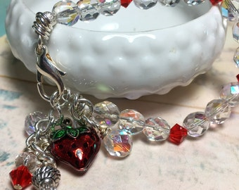 Strawberry bracelet, free shipping, summer jewelry, One of a Kind beaded bracelet