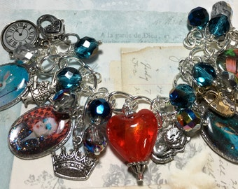 Alice in Wonderland,    altered art Charm bracelet, altered , jewelry, handmade, One of a kind