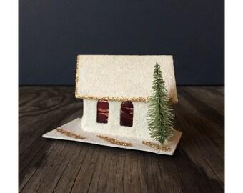 Putz Ornament - Church with Tree
