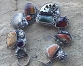 Barnacle 'Treasure' bracelet.  Sterling silver amethyst, agate, citrine, tiger eye, handmade oak