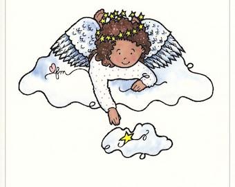 Counting Stars print, Angel Print, Angel Picture, Wishing Stars, Print from Watercolor, Children's Decor, Original Art, Print