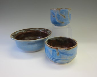 Nesting Cups and Bowl - Handmade Porcelain - Cinnamon and Opal Blue - Bowl and Small Cups for Sauces - Prep Bowl