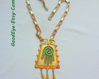 1960s Mixed Metal Choker Necklace Large Open Hand Pendant Bohemian Mexico Copper Brass Silver Green Enamel marked NVA