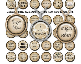 25MM circles , Love & Encourage, words and phrases for pendants  INSTANT Digital Download at Checkout ,collage sheets for jewelry
