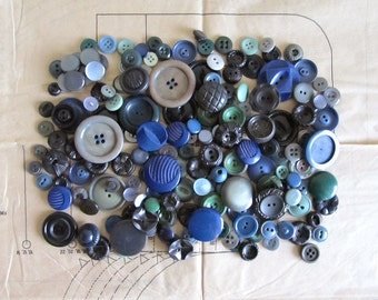 Vintage Buttons - Assortment of Blue and Green