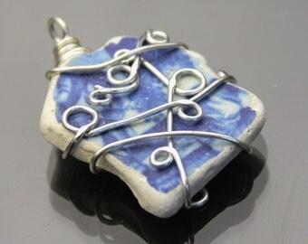 Genuine sea pottery Pendant - Pretty white and blue sea pottery pendant - wire wrapped beach pottery