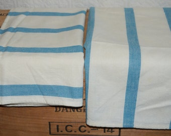 Two vintage Cannon cotton kitchen towels  Blue and white cotton