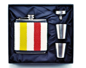 FLASK Gift Set - Made with genuine Pendleton© Fabric - Stainless Steel Flask - Hudson Bay Style - Hudson Bay Blanket Inspired