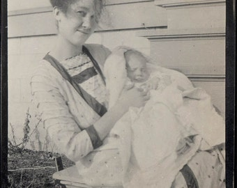 1915 Young Country Mother w New Baby vintage photo