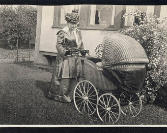 Vintage photo 1910 Proud GRandmother Takes Baby Buggy for Easter Spring Walk