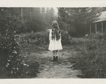 vintage photo Instant Download Little Long Hair Ringlet Girl From Back digital download