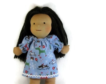 Christmas doll clothes 14, 15, 16, 17 inch Waldorf doll nightgown, Christmas dogs toy sleepwear, Christmas dolly nightgown