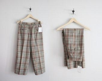 cropped wool pants / 70s pants / plaid pants