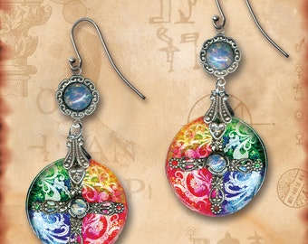 Color Wheel Rainbow Dangle Glass Earrings - Symbolz Glass Art Collection - The Kaleidoscope of Life Rainbow Earrings