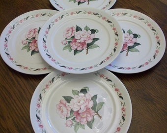 """Set of 5 Pope Gosser Shabby Cottage 10"""" Plates Pink Peonies Very Shabby Sweet"""