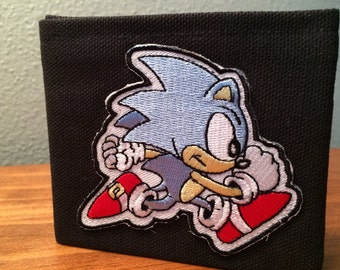 Sonic the Hedgehog handmade black canvas lightweight sturdy wallet