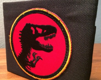 Jurassic Park handmade black canvas lightweight sturdy wallet