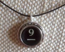 Typewriter key pendant / number 9 and dash key / silver tone pendant on black neckwire / teacher gift