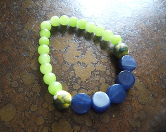 Lakeside Glass Acrylic and Picasso Glass Beaded Stretch bracelet
