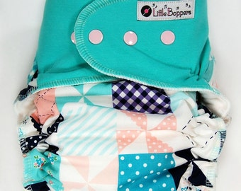 Made to Order Cloth Diaper or Cover - Country Quilt (Woven) with Seagreen Bamboo Stretchy Wings - Custom Nappy or Wrap - Nappies Diapers