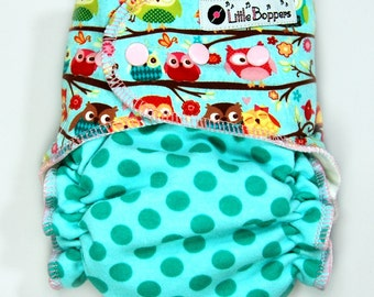 Cloth Diaper AI2 Made to Order - Combo Happy Flappers and Ta Dots - You Pick Size and Style - Custom Cloth Nappy AI2 Owls + Aqua Polka Dots