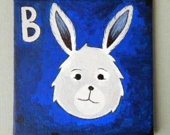 B is for BUNNY Original Acrylic Painting, Bunny original painting, kid's room decoration, nursery original painting, alphabet animal art