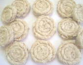 13 - Large Tea Stained Lace Rolled Fabric Flowers - Weddings, Headbands, Fiber Jewelry, Pillows, Wholesale Flowers, Sashes & More
