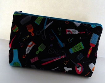 Hair Product Cosmetic Bag, Hair Styling Zippered Pouch , Medium Zippered Pouch, Toiletries Bag, Cosmetic Bag, Purse Organizer, Handmade