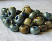 Denim Mix 2/0 Aged Striped Czech Glass Seed Bead Mix :  6 inch Strand Aged Picasso Seed Bead