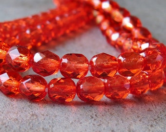 6mm Faceted Round Salmon Berry Czech Glass Bead : 25 pc 6mm Round