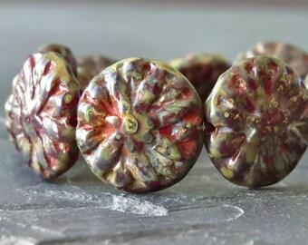 Brick Red Picasso Dahlia Czech Glass 14mm Flower Beads : 6 pc Red Dahlia Flower