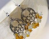 Chandelier Earrings - Gemstone Earrings - Silver Earrings - Cluster Earrings