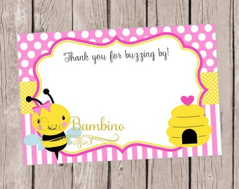 PRINTABLE Bumble Bee Thank You Cards for Birthday or Baby Shower in Pink and Yellow / You Print / Instant Download - 0032
