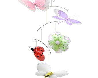 Butterfly Mobile Baby Crib Ceiling Hanging Butterfly Dragonfly Ladybug Bumble Bee Flower Baby Room Decor Nursery Decoration Multi-Layered