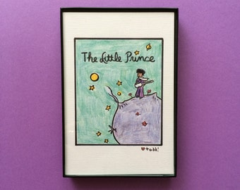Art, The Little Prince, Prince, Print, mash-up, 4x6 inches, books, music, Antoine De Saint-Exupery, framed artwork, wall decor, Purple Rain