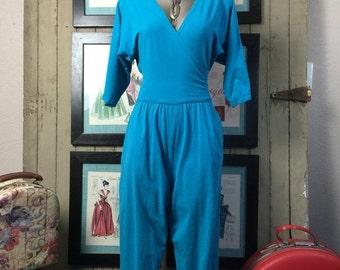 Fall sale 1980s jumpsuit teal jumpsuit 80s jumpsuit one piece pants size small Vintage jumpsuit vintage romper