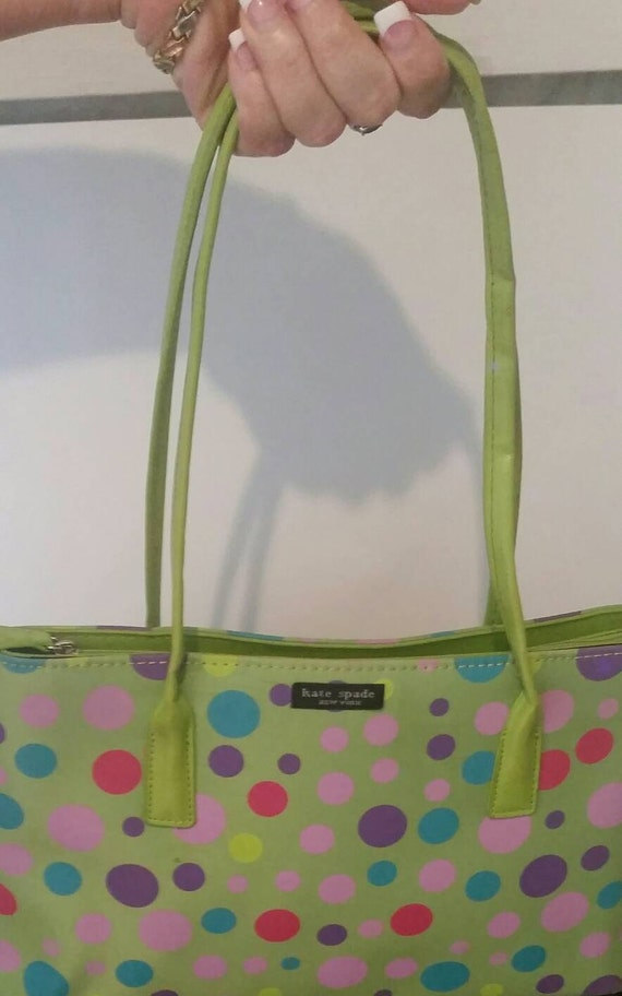 Vintage kate spade apple green polka dot purse tote junglespirit Gallery